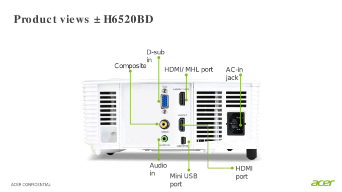 ACER CONFIDENTIAL Product Brief Acer H6520BD Projector